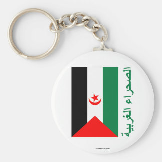 Western Sahara Flag with Name in Arabic Keychains