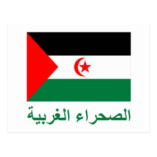 Western Sahara Flag with Name in Arabic Postcard