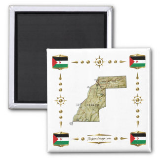 Western Sahara Map + Flags Magnet