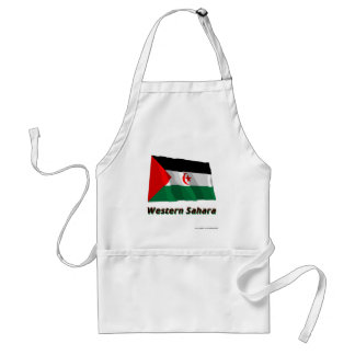 Western Sahara Waving Flag with Name Adult Apron