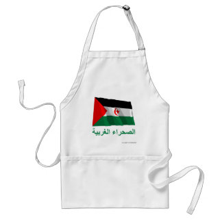 Western Sahara Waving Flag with Name in Arabic Adult Apron