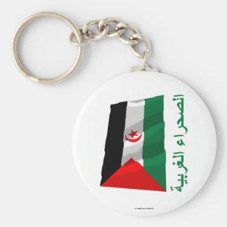 Western Sahara Waving Flag with Name in Arabic Key Chains