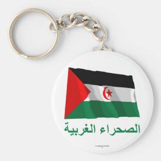 Western Sahara Waving Flag with Name in Arabic Keychain