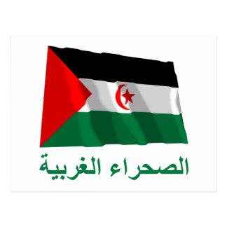 Western Sahara Waving Flag with Name in Arabic Postcard