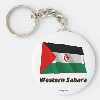 Western Sahara Waving Flag with Name Keychain