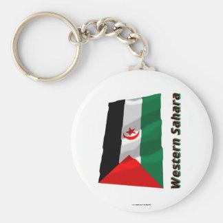 Western Sahara Waving Flag with Name Key Chain