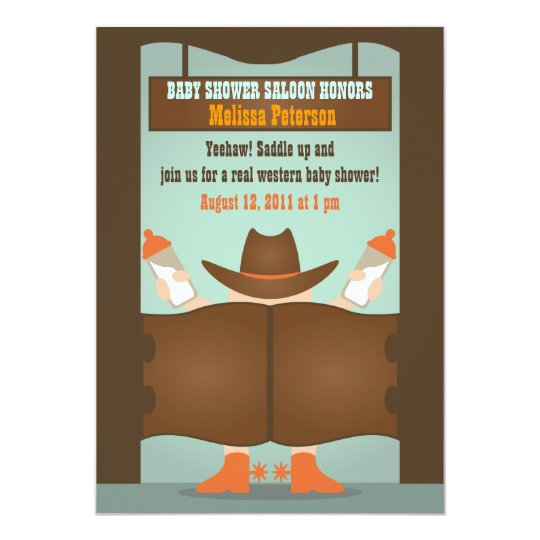 Western Saloon Baby Shower Card