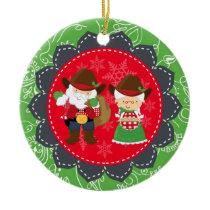 Western Santa, Mrs Clause 1st Christmas Ornament