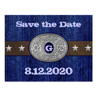Western Save the Date Wedding Cards Postcard