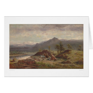Western scene with Indian Camp (1275) Card