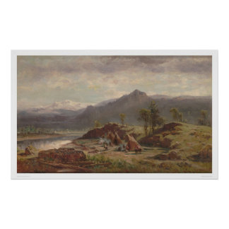 Western scene with Indian Camp (1275) Poster