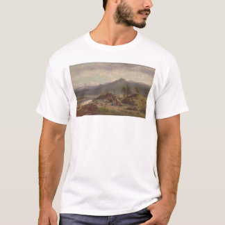 Western scene with Indian Camp (1275) T-Shirt