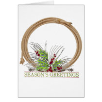 Western Season's Greetings With Lasso Ans Spurs Card