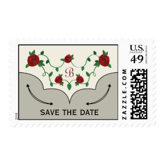 Western Shirt Inspired Monogram Save The Date Postage Stamps