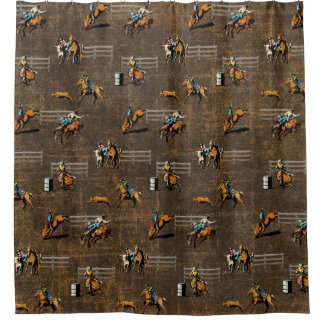 Western Shower Curtain With Rodeo Events