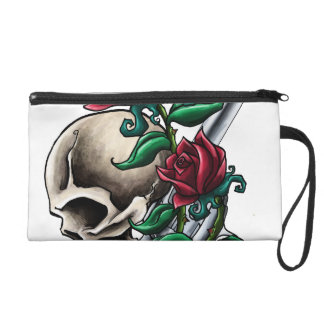Western Skull with Red Roses and Revolver Pistol Wristlet