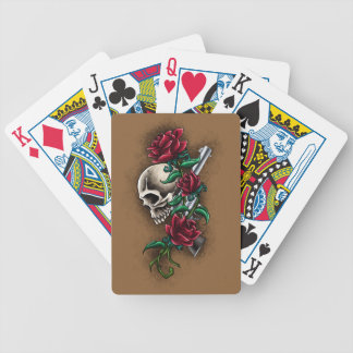 Western Skull with Red Roses and Revolver Pistol Bicycle Playing Cards