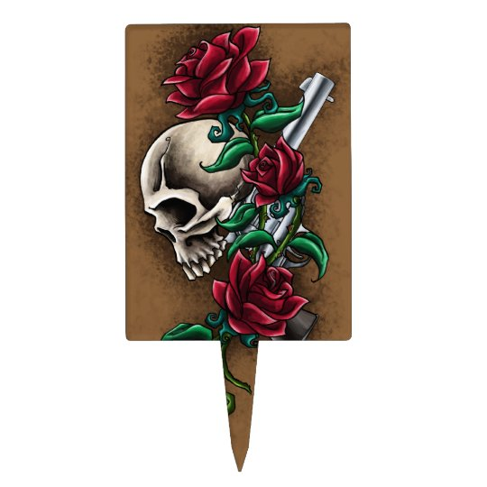 Western Skull with Red Roses and Revolver Pistol Cake Topper