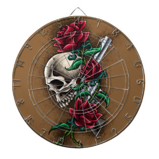 Western Skull with Red Roses and Revolver Pistol Dart Board