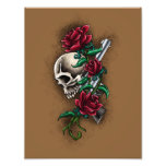 Western Skull with Red Roses and Revolver Pistol Photograph
