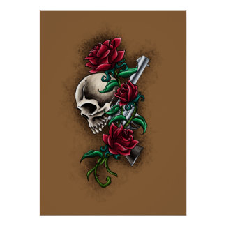 Western Skull with Red Roses and Revolver Pistol Poster