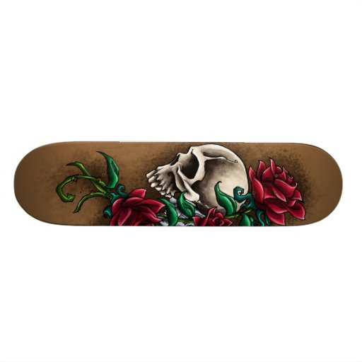 Western Skull with Red Roses and Revolver Pistol Skate Deck