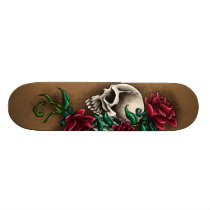 Western Skull with Red Roses and Revolver Pistol Skateboard Deck