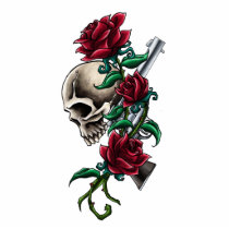Western Skull with Red Roses and Revolver Pistol Statuette