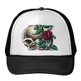 Western Skull with Red Roses and Revolver Pistol Trucker Hat