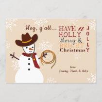 Western Snowman Holiday Card