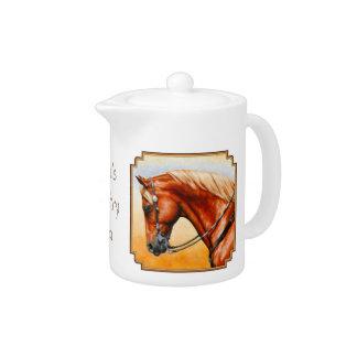 Western Sorrel Quarter Horse Square Border Teapot