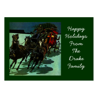 WESTERN STAGECOACH W/ CHRISTMAS TREE GIFT TAG CARD LARGE BUSINESS CARDS (Pack OF 100)