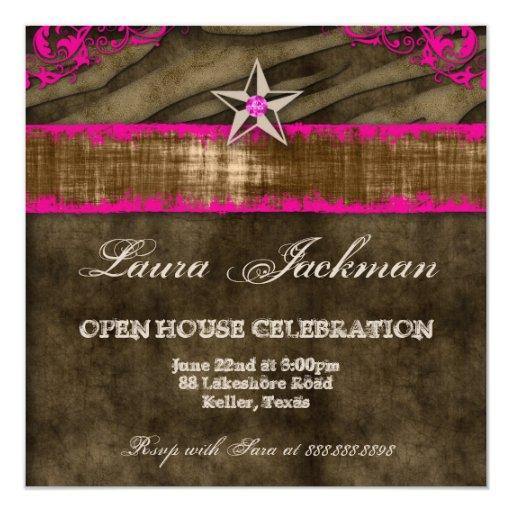 "Western Star Photo Card Pink Brown Zebra Suede 2 5.25"" Square Invitation Card"