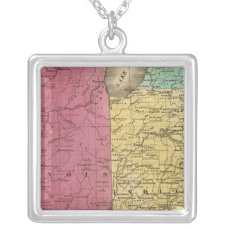 Western States with inset map of Upper Michigan Square Pendant Necklace