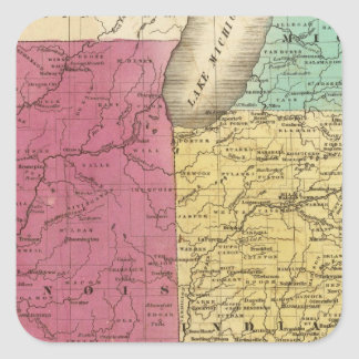 Western States with inset map of Upper Michigan Square Sticker