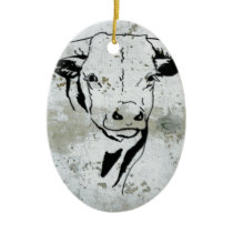 Western Steer Head Southwest Ceramic Ornament