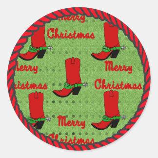 Western Sticker Christmas Cowboy Boots