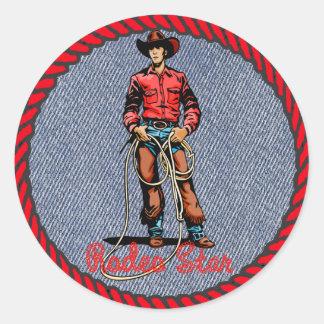 Western Sticker Cowboy Rodeo Star On Denim Print