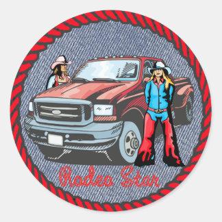 Western Sticker Cowgirl Rodeo Star On Denim Print