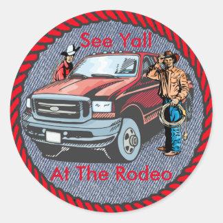 Western Sticker Rodeo Cowboys On Denim Print
