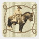 Western Sticker Vintage Cowboy Square Sticker