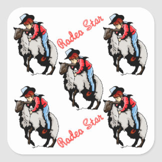 Western Stickers Party Favors Rodeo Mutton Busting