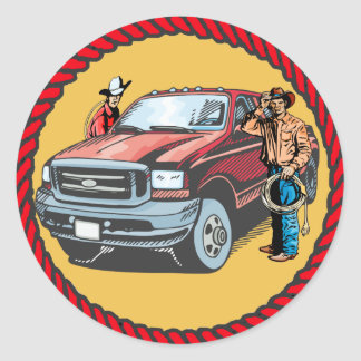 Western Stickers Rodeo Cowboys With Truck
