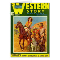 Western Story 1937 Christmas magazine cover Card