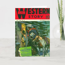 Western Story 1941 Christmas magazine cover Holiday Card