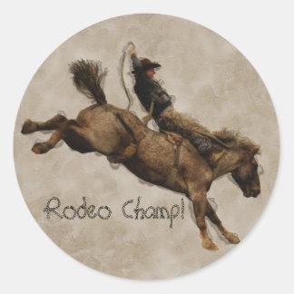 Western-style Bucking Bronco Cowboy Classic Round Sticker