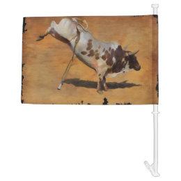 Western-style Bucking Rodeo Bull Car Flag