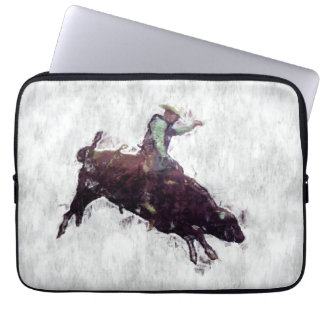 Western-style Bull Rider Rodeo Cowboy Laptop Computer Sleeve