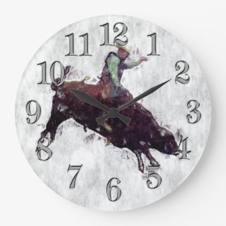 Western-style Bull Rider Rodeo Cowboy Large Clock