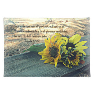 Western Style, Country Sunflowers and Bible Verse Placemats